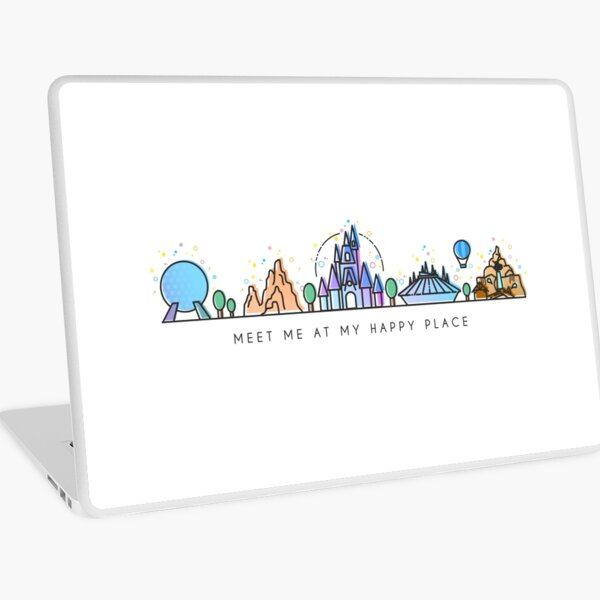 Meet me at my Happy Place Vector Orlando Theme Park Illustration Design Laptop Skin