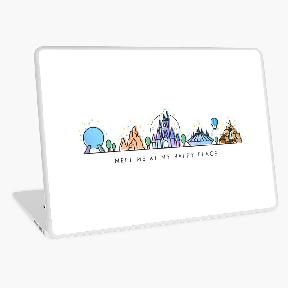 Meet me at my Happy Place Vector Orlando Theme Park Illustration Design Laptop Skin
