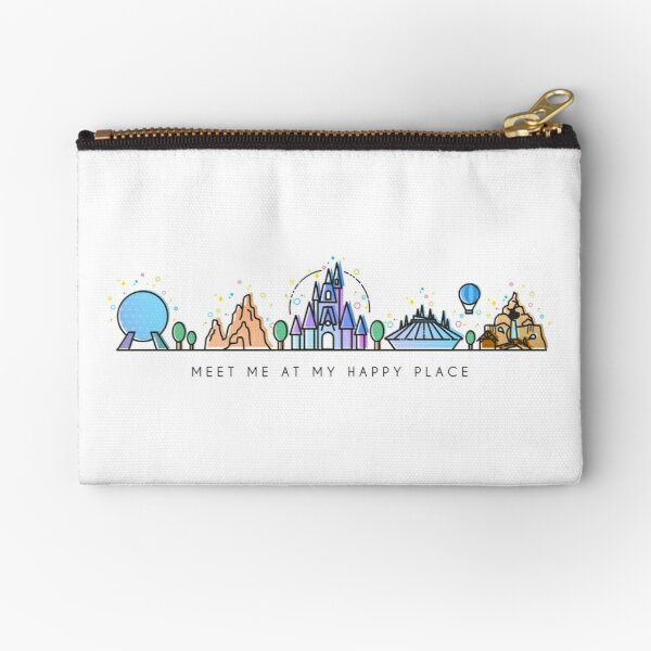 Meet me at my Happy Place Vector Orlando Theme Park Illustration Design Zipper Pouch