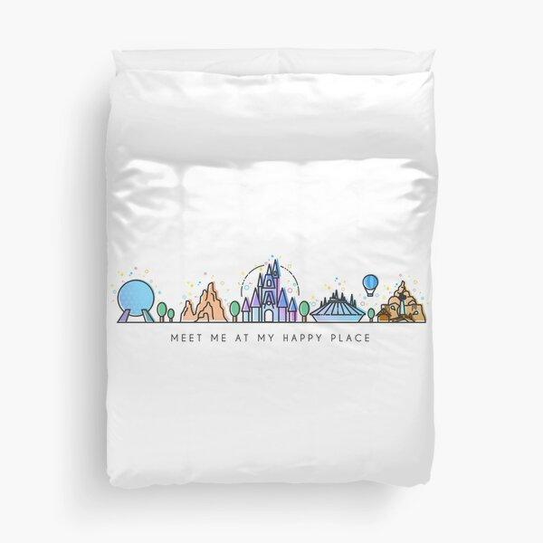 Meet me at my Happy Place Vector Orlando Theme Park Illustration Design Duvet Cover