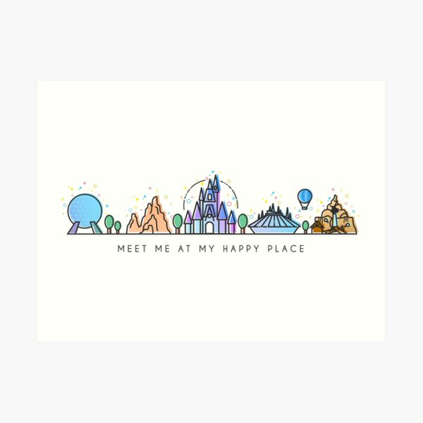 Meet me at my Happy Place Vector Orlando Theme Park Illustration Design Art Print