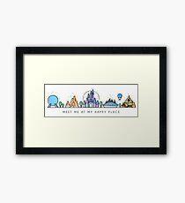 Meet me at my Happy Place Vector Orlando Theme Park Illustration Design Framed Print
