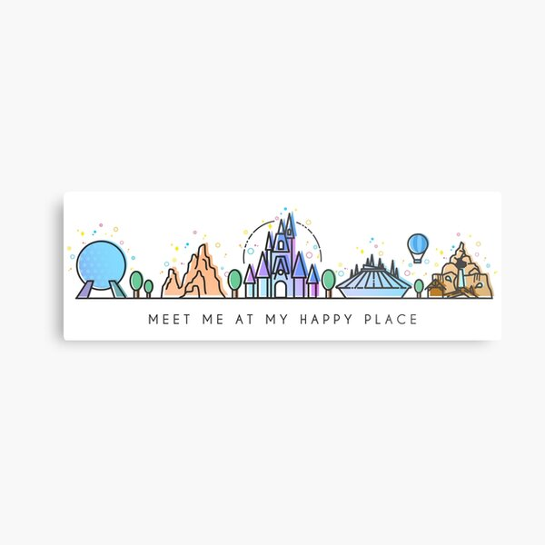 Meet me at my Happy Place Vector Orlando Theme Park Illustration Design Metal Print
