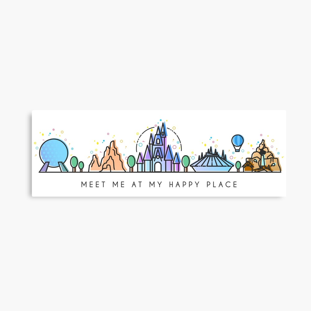 Meet me at my Happy Place Vector Orlando Theme Park Illustration Design Canvas Print