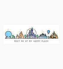 Meet me at my Happy Place Vector Orlando Theme Park Illustration Design Photographic Print