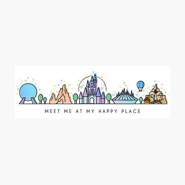 Meet me at my Happy Place Vector Orlando Theme Park Illustration Design Photographic Print