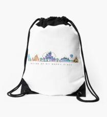 Meet me at my Happy Place Vector Orlando Theme Park Illustration Design Drawstring Bag