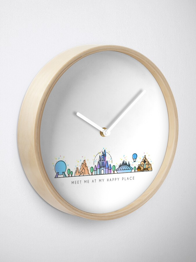 Alternate view of Meet me at my Happy Place Vector Orlando Theme Park Illustration Design Clock