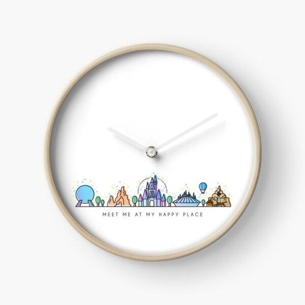 Rencontrez-moi à mon Happy Place Vector Orlando Theme Park Illustration Design Horloge