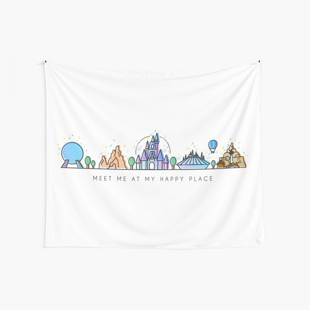 Meet me at my Happy Place Vector Orlando Theme Park Illustration Design Wall Tapestry