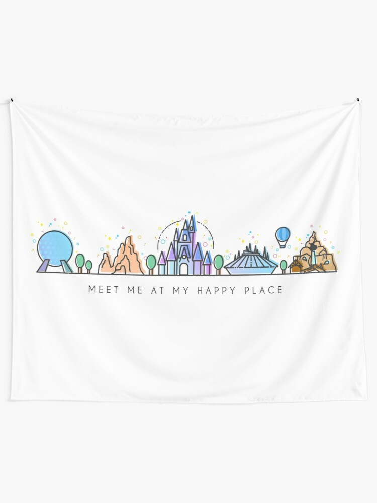Alternate view of Meet me at my Happy Place Vector Orlando Theme Park Illustration Design Tapestry