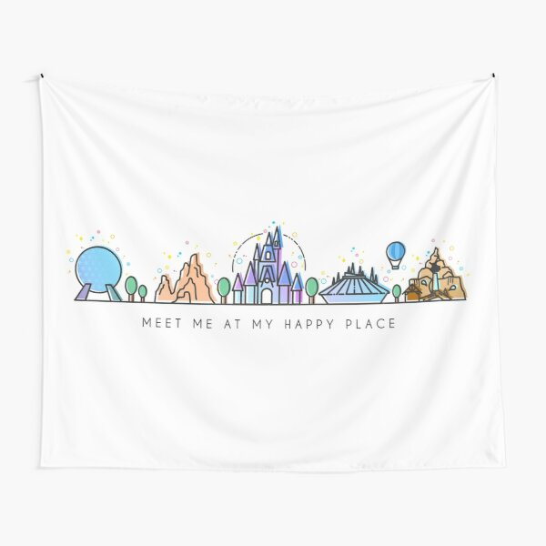 Meet me at my Happy Place Vector Orlando Theme Park Illustration Design Tapestry