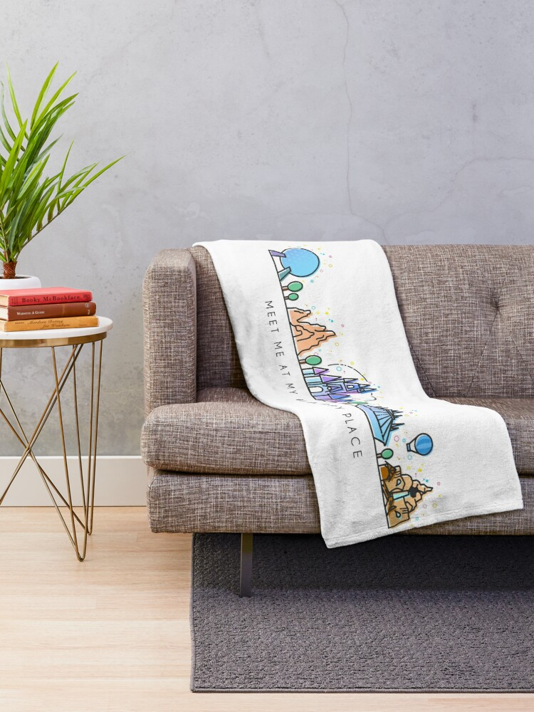 Alternate view of Meet me at my Happy Place Vector Orlando Theme Park Illustration Design Throw Blanket