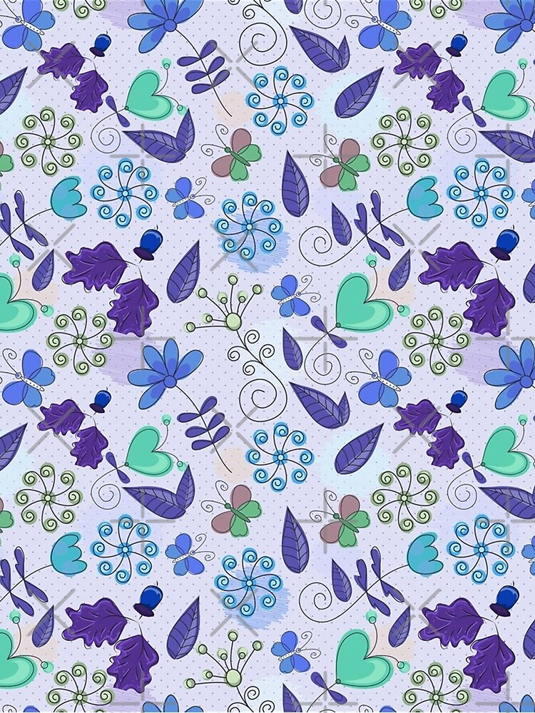 Blue Floral Spring Pattern by DiamondWillow