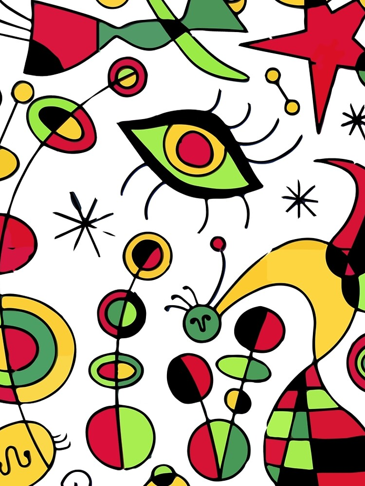 Joan Miro Peces De Colores (Colorful Fish ) Artwork for Posters Tshirts Prints Men Women Kids by clothorama