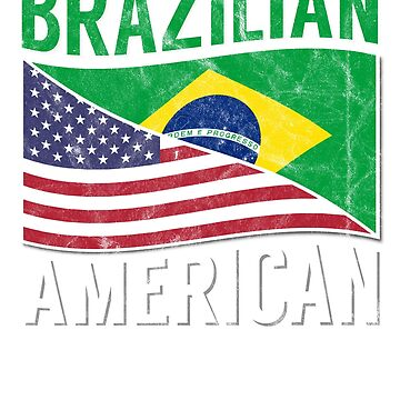 Brazil USA Flag Shirt Family Brazilian American Roots TShirt    by screenworks
