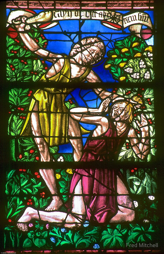 Chalons sur Marne St Etienne Window Cain kills Abel 19840506 0053 by Fred Mitchell