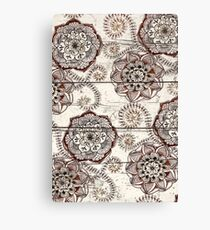 Coffee & Cocoa - brown & cream floral doodles on wood Canvas Print