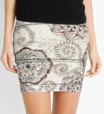 Coffee & Cocoa - brown & cream floral doodles on wood Mini Skirt