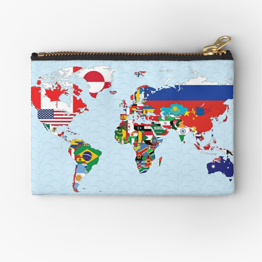 World Map made up of each countries flag Zipper Pouch