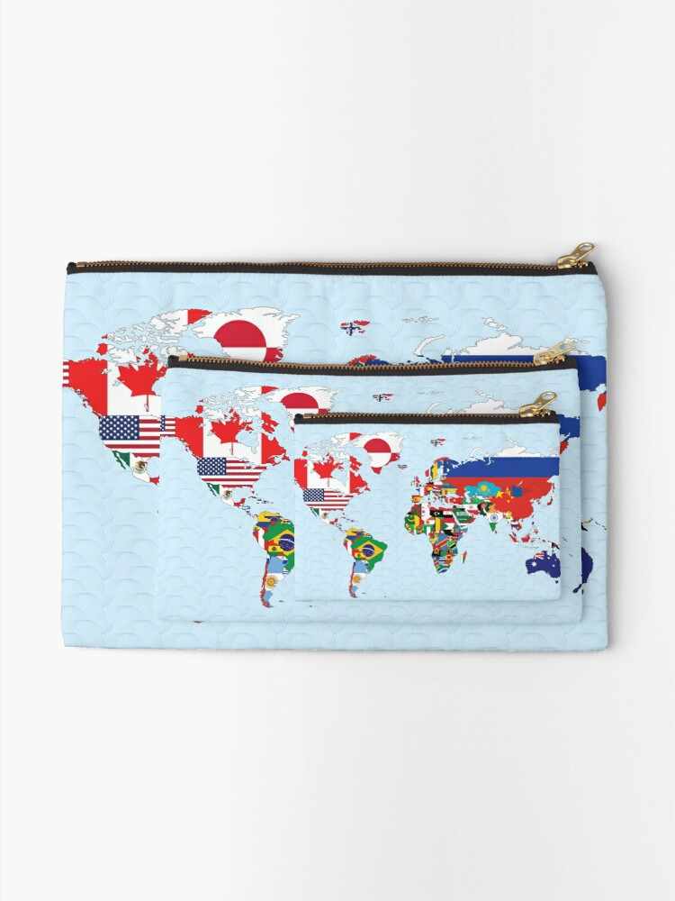 Alternate view of World Map made up of each countries flag Zipper Pouch