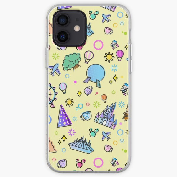 Meet me at my Happy Place Yellow Pattern. Magical Princess Castle Design. Florida Icons. iPhone Soft Case