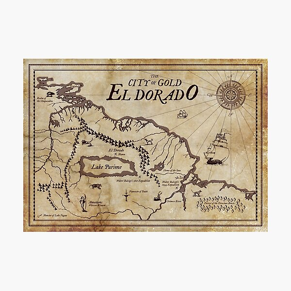 Map of El Dorado - The City of Gold Photographic Print