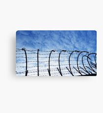 Barbed Wire with Sky Canvas Print