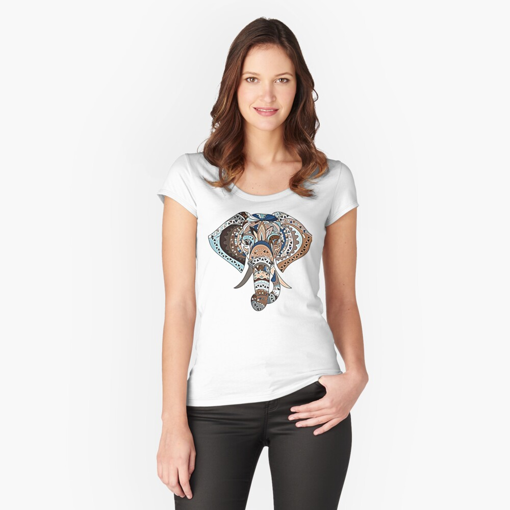 Beautiful Tribal Blue And Brown Patchwork Elephant For Animal Lovers Women's Fitted Scoop T-Shirt Front