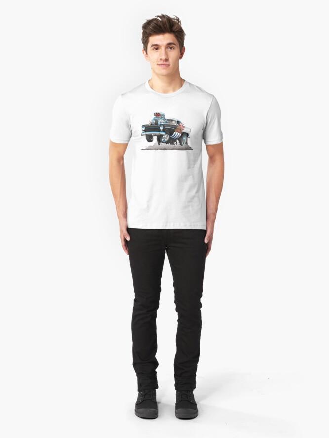 Alternate view of Classic 55 Hot Rod Funny Car Cartoon Slim Fit T-Shirt