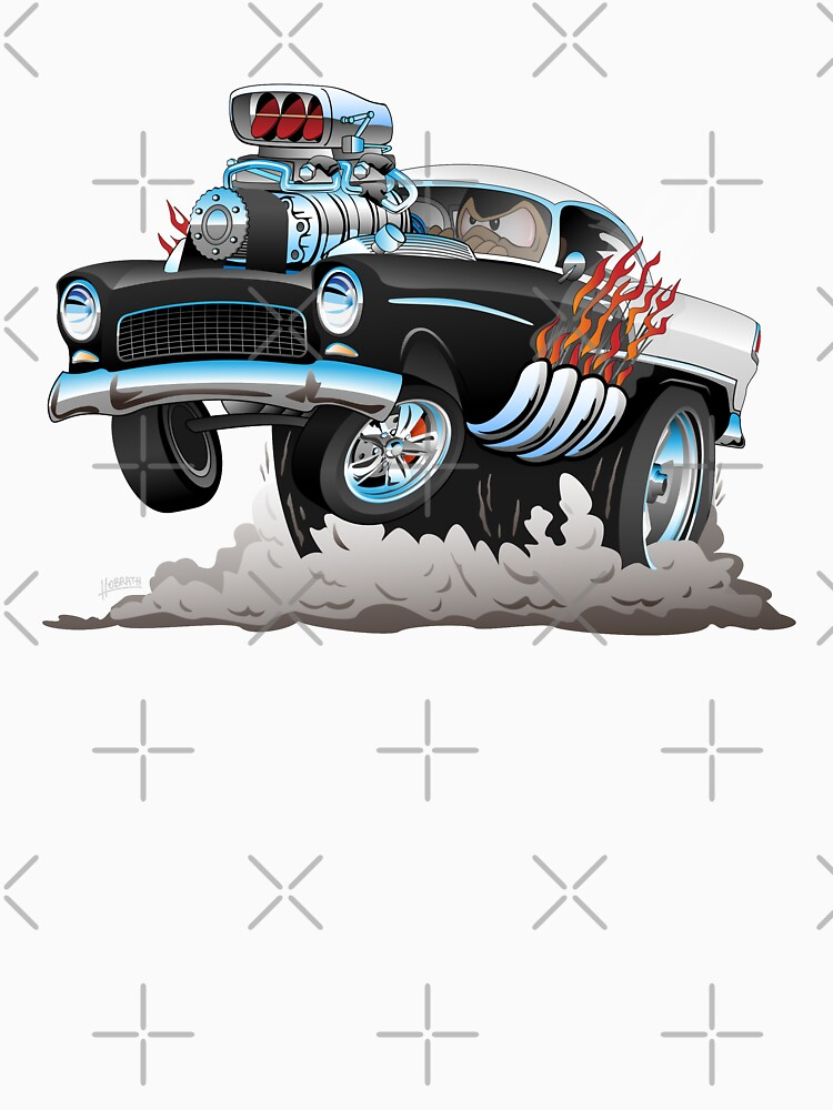 Classic 55 Hot Rod Funny Car Cartoon by hobrath