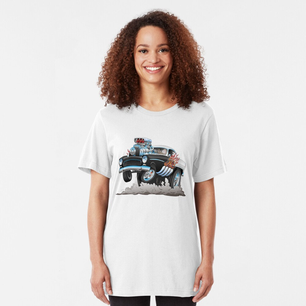 Classic 55 Hot Rod Funny Car Cartoon Slim Fit T-Shirt
