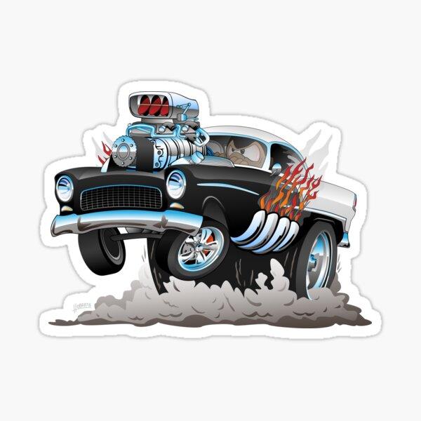 Classic 55 Hot Rod Funny Car Cartoon Sticker