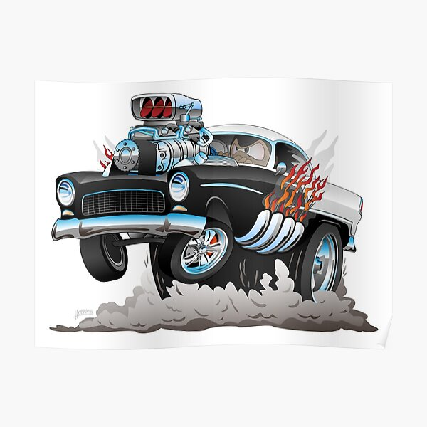 Classic 55 Hot Rod Funny Car Cartoon Poster