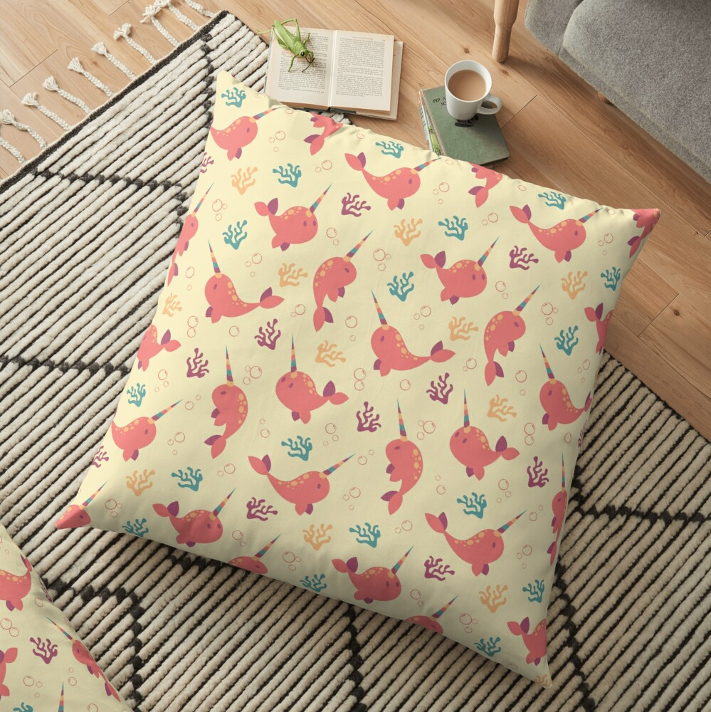 To the Window to the Narwhal - Coral & Cream Floor Pillow