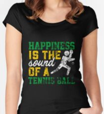 Happiness Is The Sound Of A Tennis Ball Distressed Women's Fitted Scoop T-Shirt