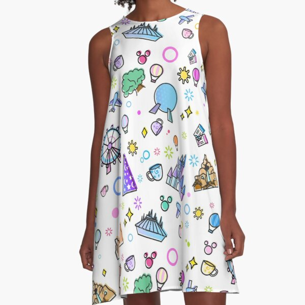 Meet me at my Happy Place Pattern. Happiest Place on Earth. Florida Orlando Icons. Ferris Wheel Theme Park. A-Line Dress