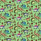 Dinosaurs! Green by DelythThomasArt