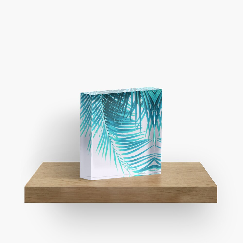 Palm Leaves Turquoise Summer Vibes #1 #tropical #decor #art Acrylic Block