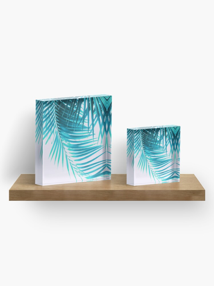Alternate view of Palm Leaves Turquoise Summer Vibes #1 #tropical #decor #art Acrylic Block