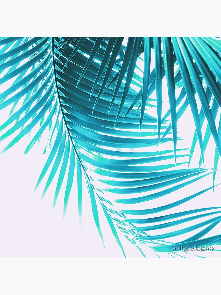 Palm Leaves Turquoise Summer Vibes #1 #tropical #decor #art by anitabellajantz