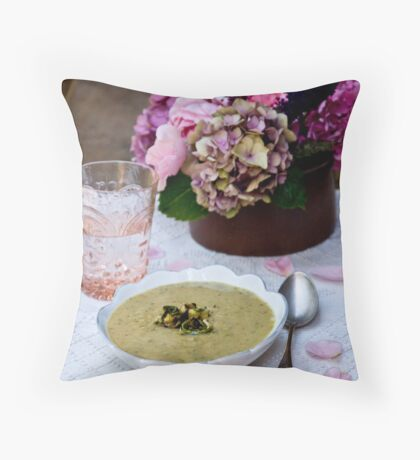 Soup and Flowers Throw Pillow