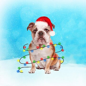English Bulldog with Christmas Lights in Snow Christmas Gifts by aashiarsh