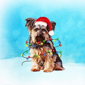 Yorkshire Terrier dog in snow Christmas Gifts by aashiarsh