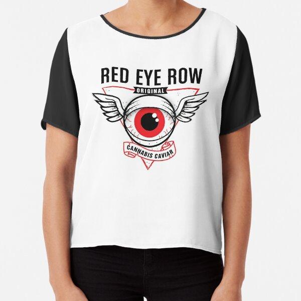 Red Eye Row Label Chiffon Top