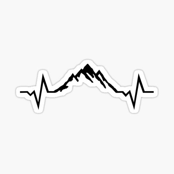 Montaña latido del corazón, montañas Pegatina