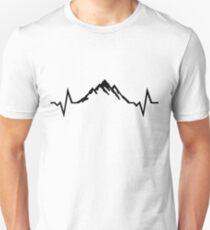 Camiseta ajustada Montaña latido del corazón, montañas
