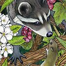 Raccoon and Mouse - Friendship under the Grapes by Puddingshades