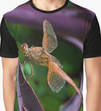 Orange Dragonfly on Purple Leaf Graphic T-Shirt