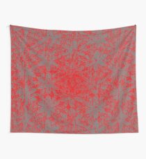 Snowy Red Halftone Flowers Wall Tapestry